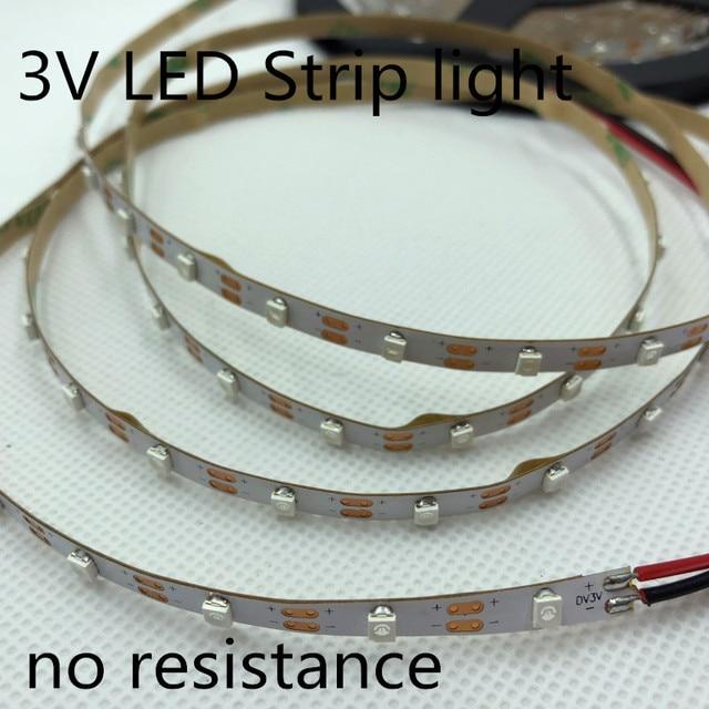 LED strip light 3V no resistance LED strip light 5MM 60pcs/Meter No waterproof 3V 3528 strip light cut by one pcs 3V Battery LED