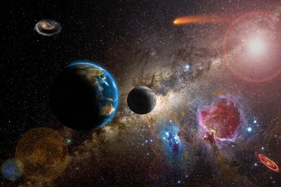 space earth science fiction poster surrounding wall cloth silk painting prints