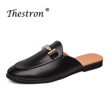 Summer 2019 Casual Adult Shoes White Black Fashion Footwear For Men Slip-on Pu Leather Man Half Drag Young