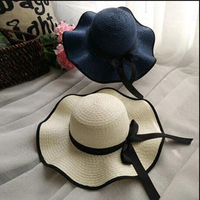 4fb2fc4305461 Atacado Verão Praia Ocasional Grande Aba do Chapéu de palha Chapéu Panamá  com fita preta para