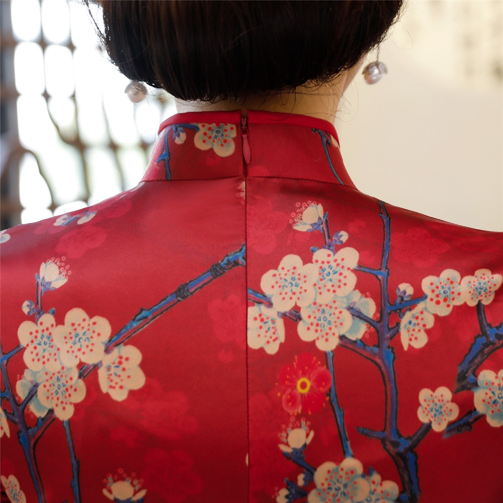 Histoire Oriental Femmes Genou 8275 Shanghai Courtes Chinoise Manches Longueur Qipao Floral Pour 8276 Cheongsam Traditionnelle Robe À 8knwXP0O