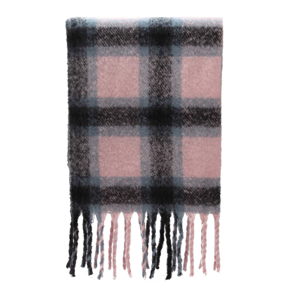 f3f2eb3e8bf6a ... Winfox 2018 New Brand Winter Pink Grey Warm Tartan Plaid Cashmere Blanket  Scarves Shawl Foulard Scarf ...