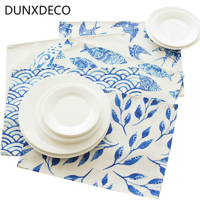 DUNXDECO Table Placemat Dinner Party Plate Cover Pad Desk Accessories Chinese Blue White Porcelain Wave Sparrows  sc 1 st  AliExpress.com & DUNXDECO Table Placemat Dinner Party Plate Cover Pad Desk ...