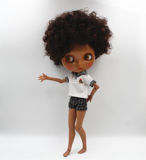 Blygirl Blyth doll Dark brown explosion curly nude doll black skin joint body 19 joint DIY doll can change makeup