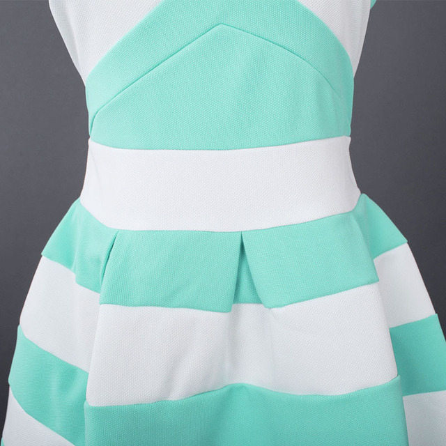 New Summer Fashion Sexy Strapless Vestidos Striped Pleated Bubble Mini Party Dress Off Shoulder Women's Dresses