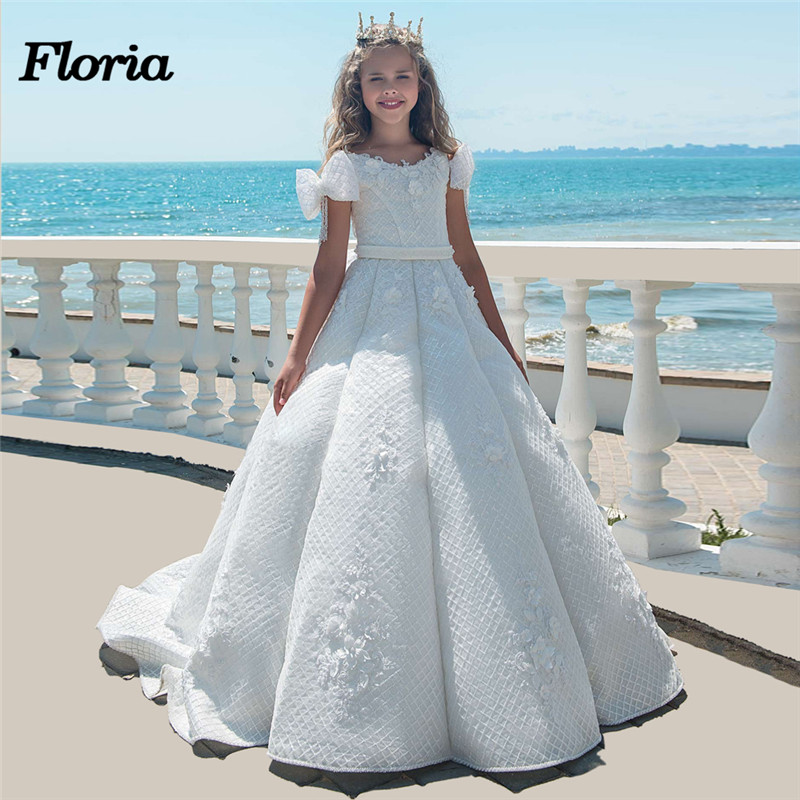 Princess Lace Ball Gown Bling Beaded   Flower     Girl     Dress     Girls   Pageant Gowns New 2018 Bow First Communion   Dresses   For Weddings