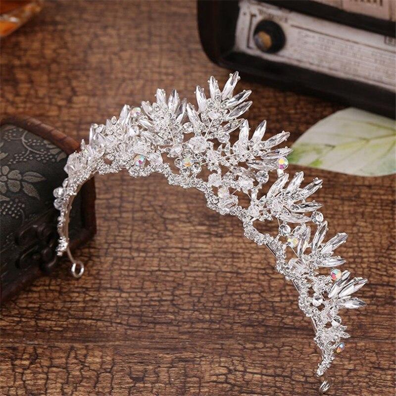 Fashion High Quality Hair Jewelry Wedding Bridal Crown Accessories Rhinestone Crystal Flowers Women Girls Bridal Tiara