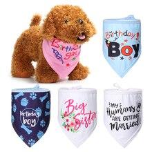1 шт. хлопковая бандана ошейники для собак Галстук шейный платок кошка щенок день рождения шеи Декор на шарф костюм шейный платок