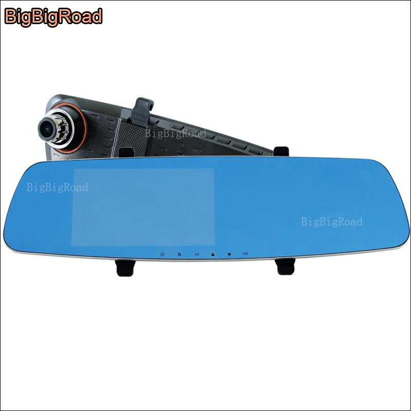 BigBigRoad For hyundai i20 santa fe Car DVR Blue Screen Rearview Mirror Video Recorder Car Dual Camera 5 INCH Car parking dvr цена