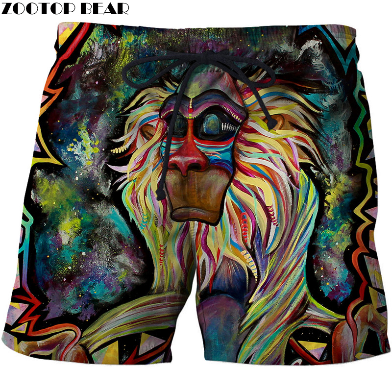 Rafiki Monkey 3D Print Summer   Shorts   Surfing Beach   Shorts   Masculino Men Travel Quick Dry Vacation Streetwear Plage   Board     Shorts