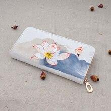 Reine Handgemalte Elegante Damen Brieftasche Blumendrucke Netter Geldbeutel Frauen Nationale Leinwand Frau Brieftasche für Abend und