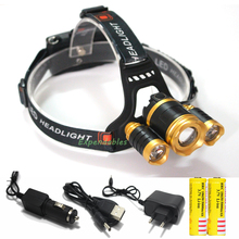 3 LED Headlight 8000 Lumens CREE XML T6 + 2*R5  Zoom High Power LED Headlamp outdoor +2pcs 18650 Battery AC/Car Charger+1*USB