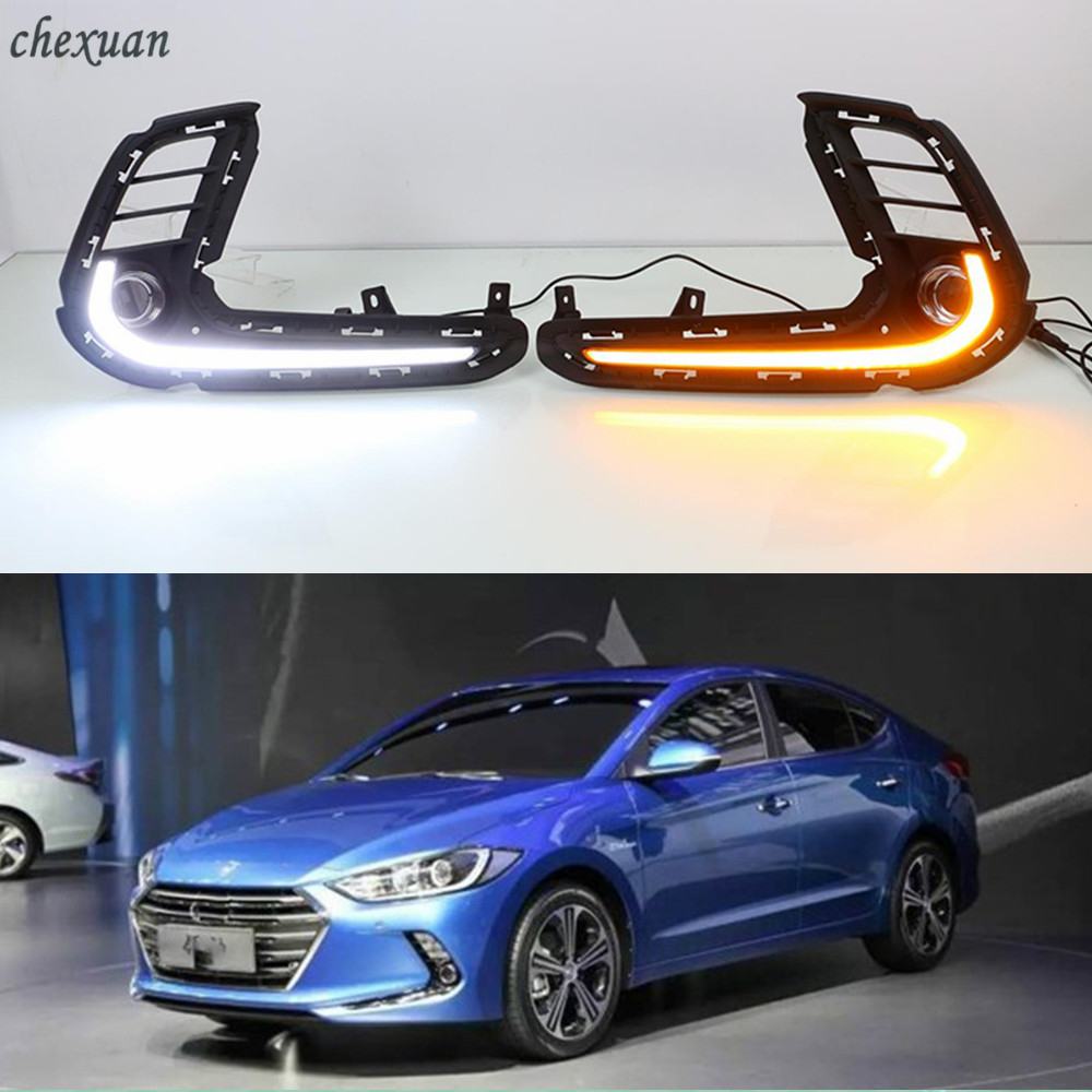 CSCSNL 2PCS For Hyundai Elantra 2016 2017 2018 LED DRL Daytime Running Lights ABS Fog Lamp