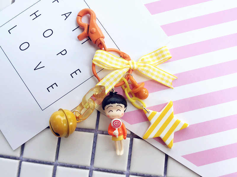 Lucu Jimusuhutu Chi-Bi Maruko Angka Gantungan Kunci Mainan Lucu Anak Laki-laki Gadis Angka Hadiah Mobil Gantungan Kunci Liontin