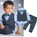 Moda Infantil Roupa Do Bebê Conjuntos de Roupas Menino Cavalheiro Terno Roupas Meninos Da Criança Crianças Roupas de Manga Longa