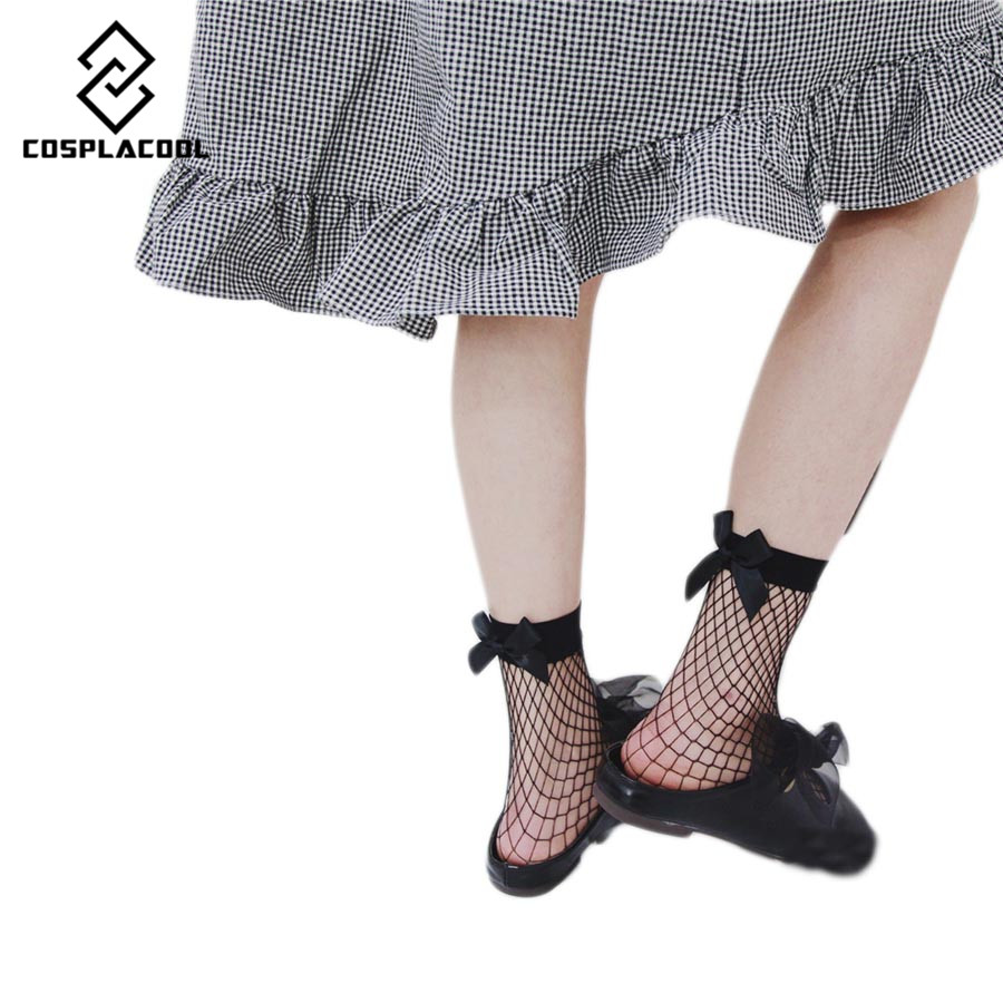 [COSPLACOOL]New Arrive Europe fashion Dress Sexy Bowknot Fishnet Socks Women/Ladies Lace Sox Students Meias Funny calcetines