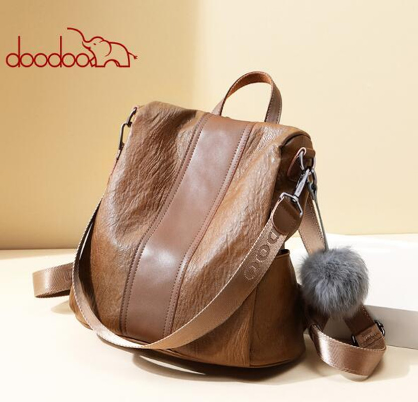 DOODOO brand vintage women backpack PU school backpacks for teenage girls casual large capacity shoulder bags With hairba FR620 jmd backpacks for teenage girls women leather with headphone jack backpack school bag casual large capacity vintage laptop bag