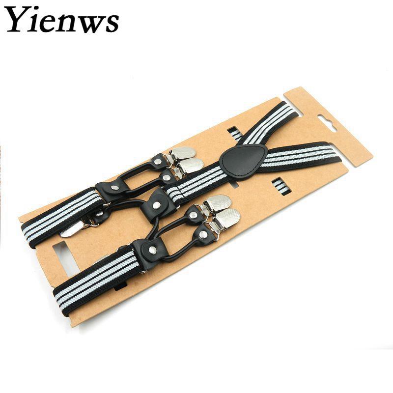 Yienws Braces For Children 6 Clip Button Pants Strap Boys Suspenders Fashion Striped Ligas Bretels Kinderen 2.5*75cm YiA079