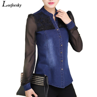 Womens Tops Fashion 2015 Denim Shirt Long Sleeve V Neck Chiffon Lace Patchwork Jeans Shirt Camisa