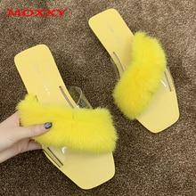 2019 New Womens Furry Slippers Lady Plush Fluffy Women Fur Slipper Winter Flat Transparent Home Indoor slides