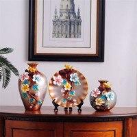 3Pcs/Set Ceramic Vase 3D Stereoscopic Dried Flowers Arrangement Wobble Plate Living Room Entrance Home Decorations R1845
