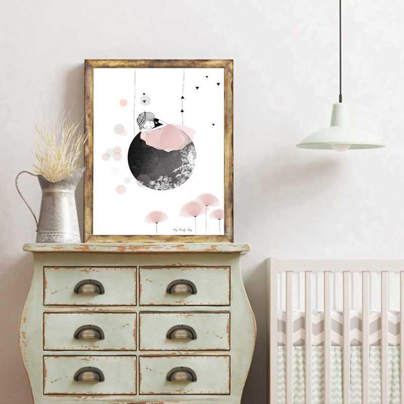 睡眠絵画アートウォールピクチャー少女の寝室の装飾、水彩ドリーム女の子キャンバスアートプリント絵画ポスター