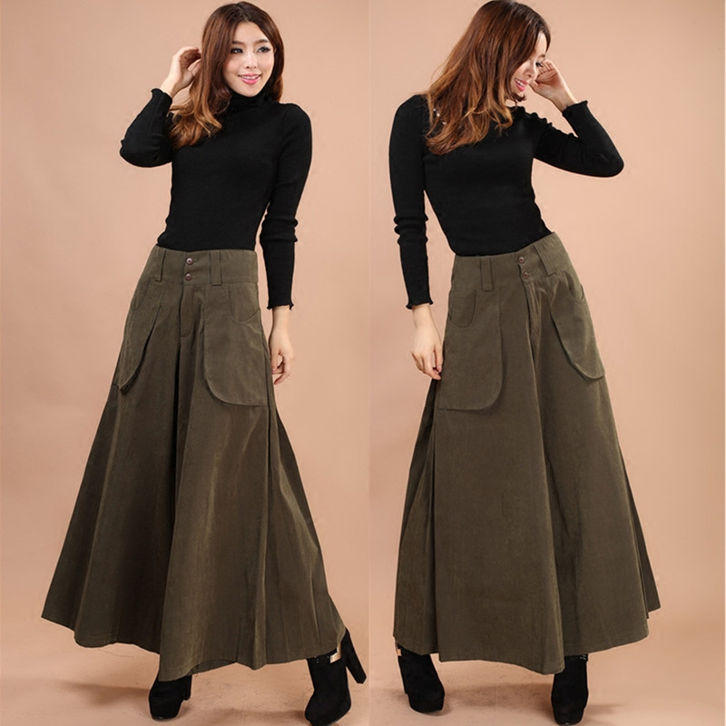 US $19.58 18% OFF|Plus size four seasons Women Wide Leg Dress Pants vintage  Female Casual solid Skirt Trousers Loose 50s Capris Culottes Pocket-in ...