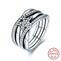 Spring Collection Fashion Rings 925 Sterling Silver Star Twisted Statement Ring For Women Engagement S925 Silver
