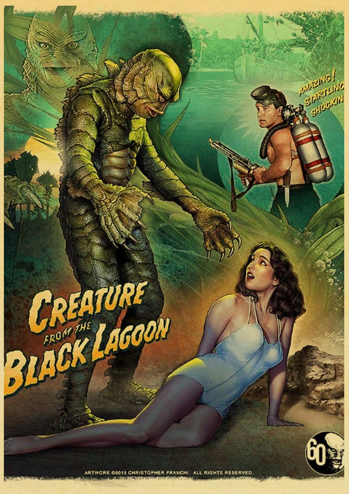 American Horror Movie Creature From The Black Lagoon Retro Posters