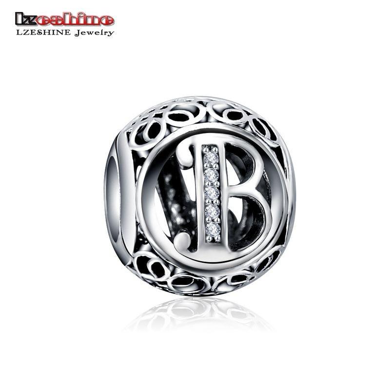 LZESHINE 100% Authentic Sterling Silver 925 Crystal Alphabet Letter A-Z Bead Charm Fit Original Pandora Charm Bracelet PSMB0634 3