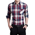 2017 Hitz large size long-sleeved plaid shirt business casual shirt M