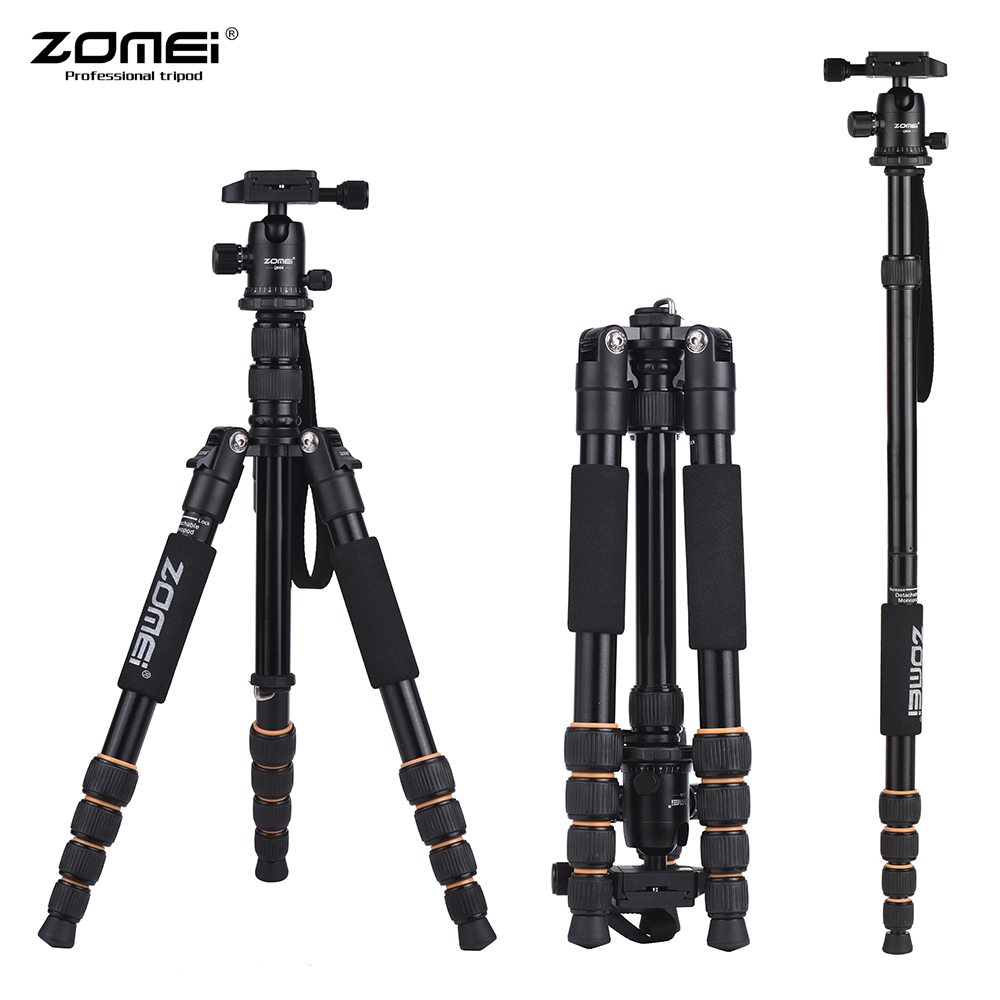 ZOMEI Q666 Lightweight Portable Professional Travel Camera Tripod Monopod Aluminum Ball Head for Digital SLR DSLR