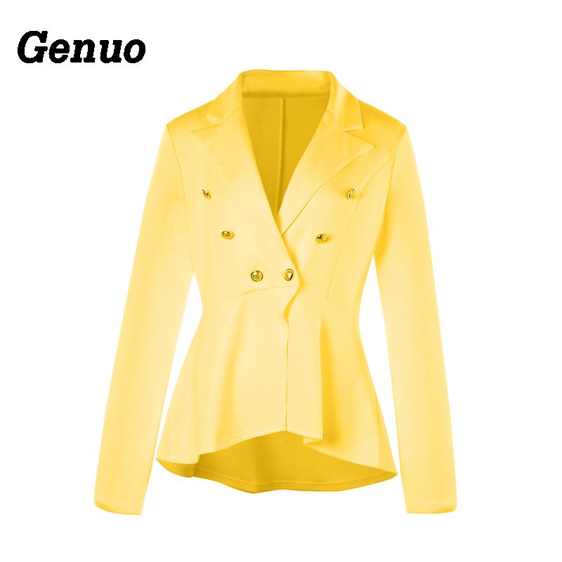 Genuo 2019 Fashion Slim Fit Women Blazer Jacket Women Solid Ladies Blazer Office Jacket Elegant Female Solid Button Plus Size