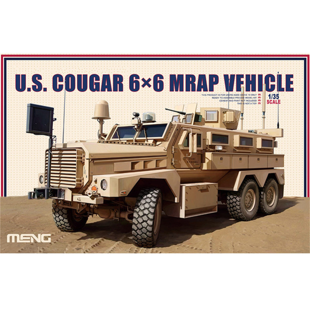 OHS Meng SS005 1/35 US 6x6 Cougar MRAP Vehicles Military Plastic AFV Model Building Kits ohs meng ts012 1 35 german panzerhaubitze 2000 self propelled howitzer military afv model building kits
