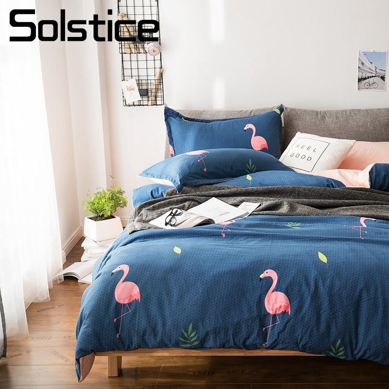 Solstice Home Textile flamant rose foncé housse de couette taie d'oreiller drap plat ado adulte fille femme ensemble de literie complet linge de lit