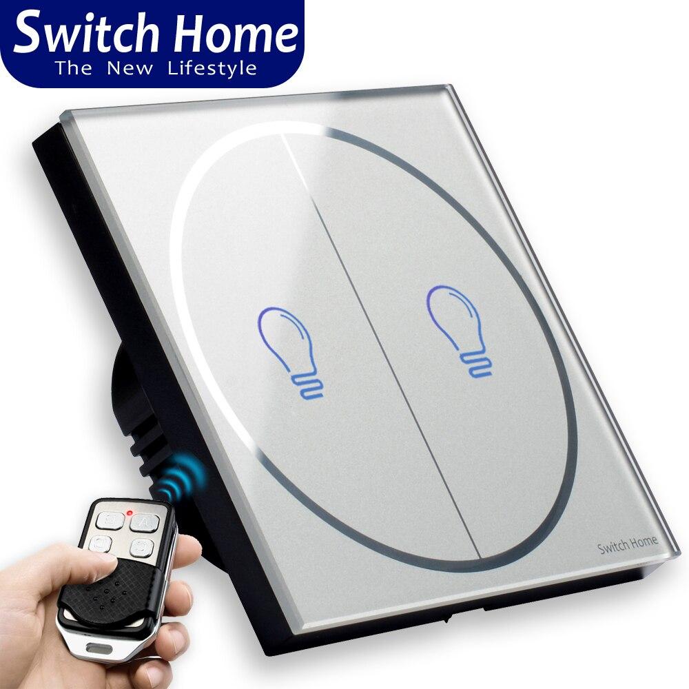 Drahtlose fernbedienung wand touch licht schalter, EU/UK Standard touch schalter hause 1234 Gang 1 Weg, RF433 smart touch Schalter