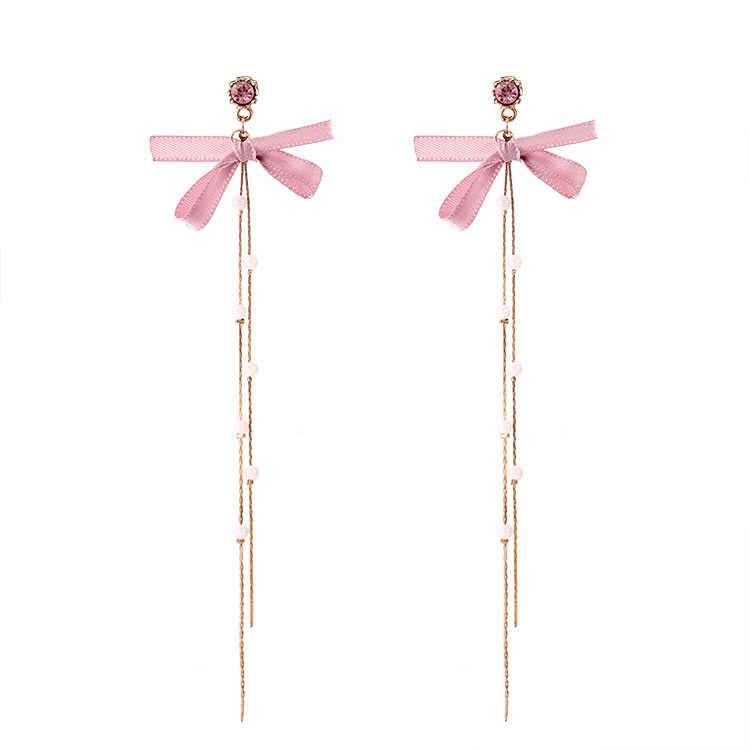 Free Shipping! 2018 Fashion New Earrings Simple Wild Pink Bow Color Crystal Chain Pearl Long Ladies Ear Gift Wholesale Trendy