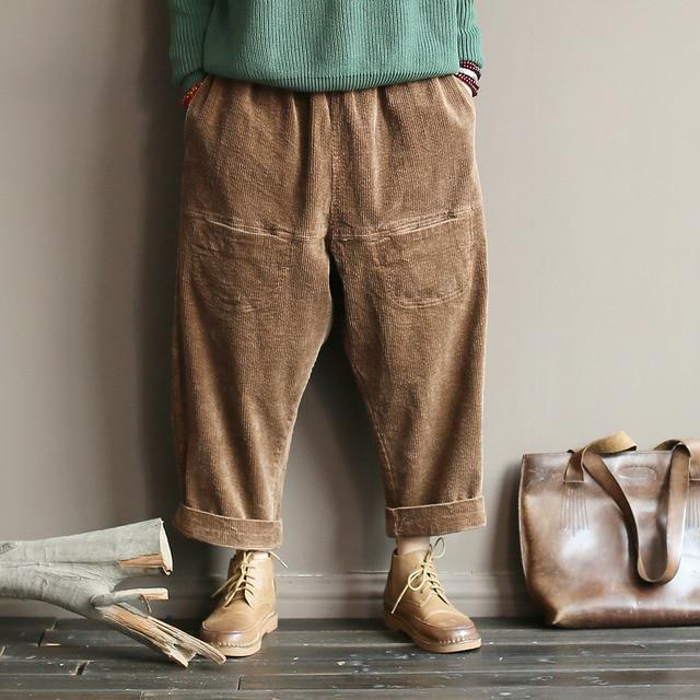 Johnature Women Vintage Cargo Pants Corduroy Trouser Elastic Waist Warm 2019 Spring New Loose Solid Color Women Pants