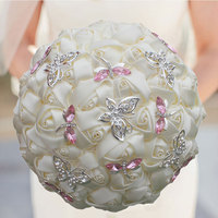 New Style Butterfly Holding Flowers Ribbon Cloth Artificial Bouquet Crystal Bridal Bouquet Wedding Party Favors