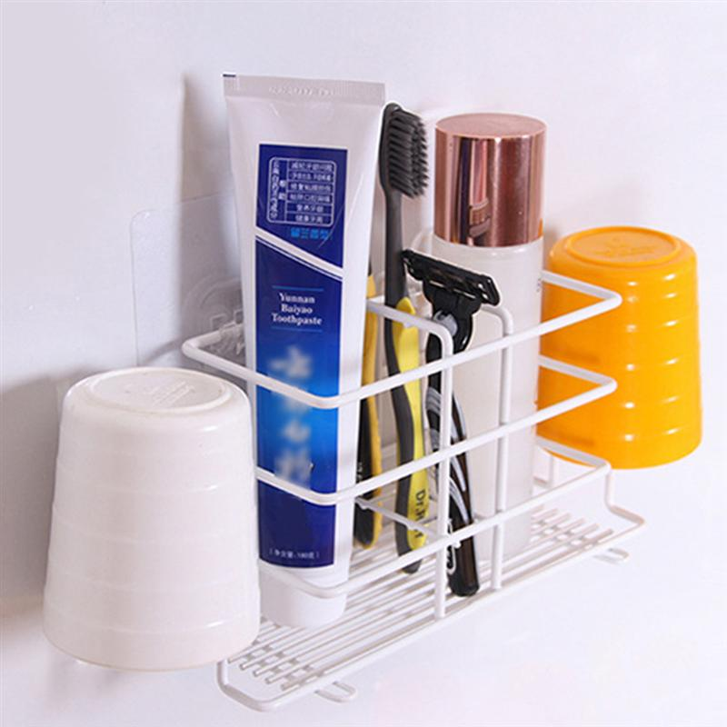 Image 3 - No Drilling Toothpaste Holder Wall Mounted Toothbrush Rack Durable Household Holder Storage Bathroom Organizer Accessories-in Toothbrush & Toothpaste Holders from Home & Garden