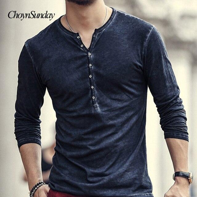 de35e174d1d6 2018 hot Designer Men Cotton Vintage Henry T Shirts Casual Long Sleeve High  quality Men old color Cardigan T-shirt X Y