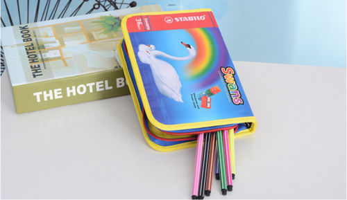 New High Capacity Student Canvas Pen Bag Pencil Case Travel Cosmetic Makeup Bags Pouch Box Ducks rainbow Blue big capacity high quality canvas shark double layers pen pencil holder makeup case bag for school student with combination coded lock