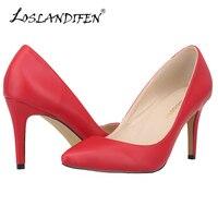 ขนาดบวก35-42ผู้หญิงปั๊มแหลมนิ้วเท้าสุภาพสตรีแต่งงานบางรองเท้าสีแดงด้านล่างส้นสูงแต่เพียง...