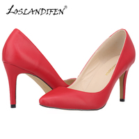 Big Size 35 46 Women Pumps Pointed Toe Women Shoes Thin Heels Pumps Red Bottom High