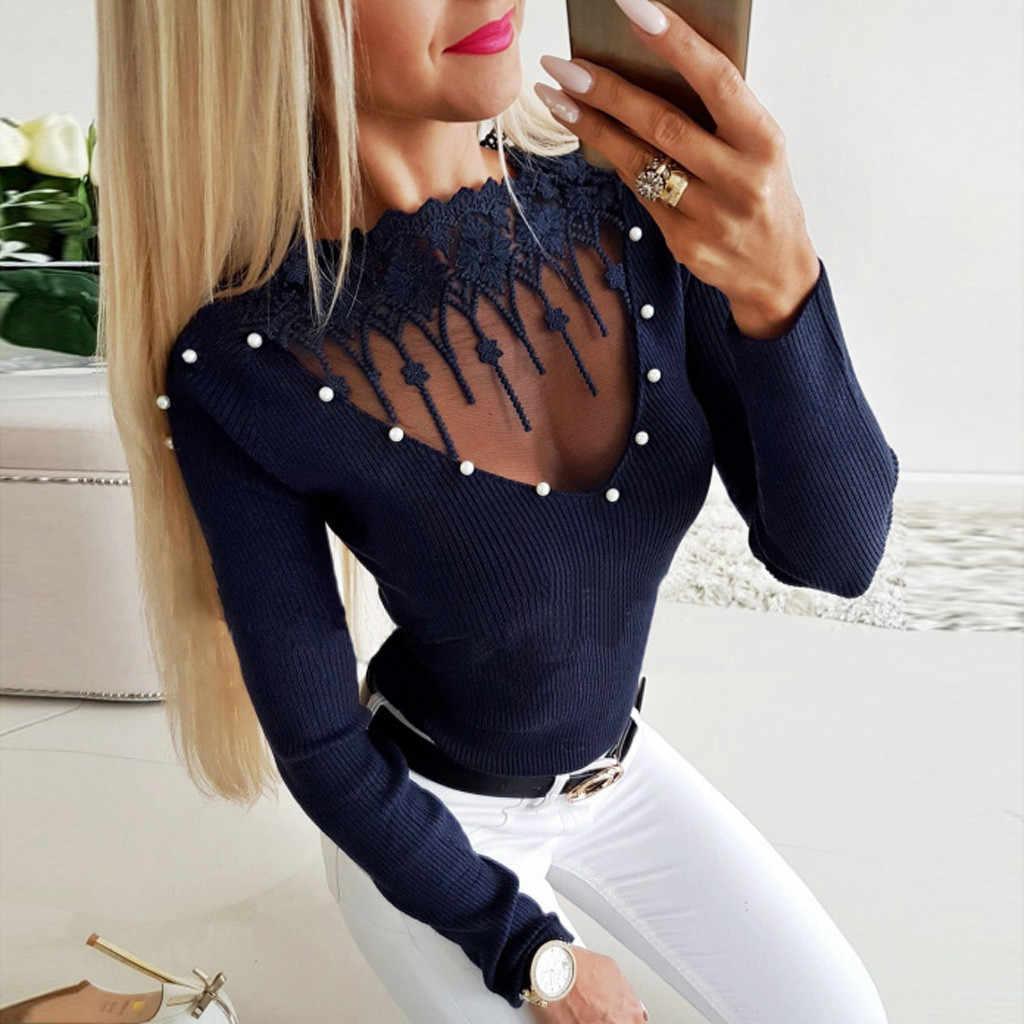 Сексуальный прозрачный в сеточку женская блузка рубашка Бисероплетение О-образным вырезом с длинным рукавом Топ рубашка Весна 2019 уличная темно-синяя топы и блузка