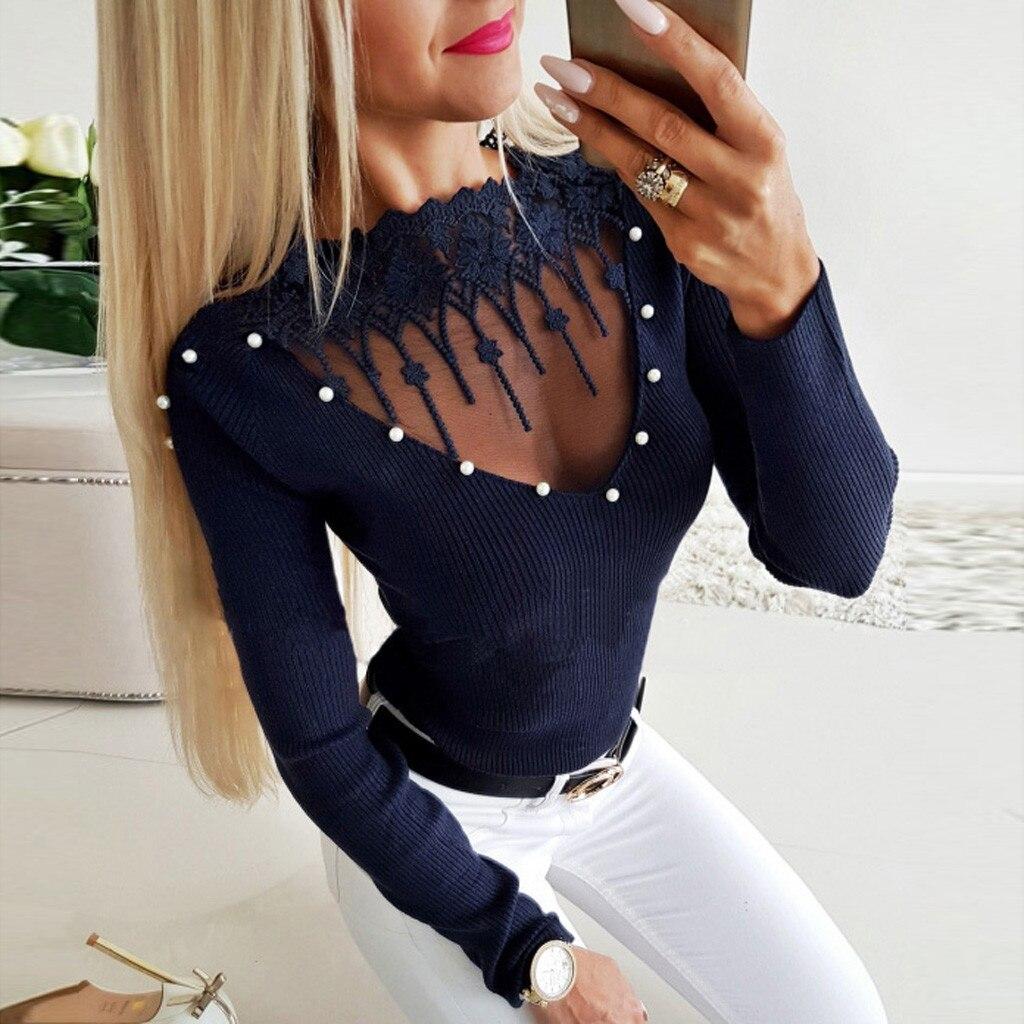 Sexy mesh transparent women blouse shirt Beading o neck long sleeve top shirt Spring 2019 streetwear navy tops and blouse