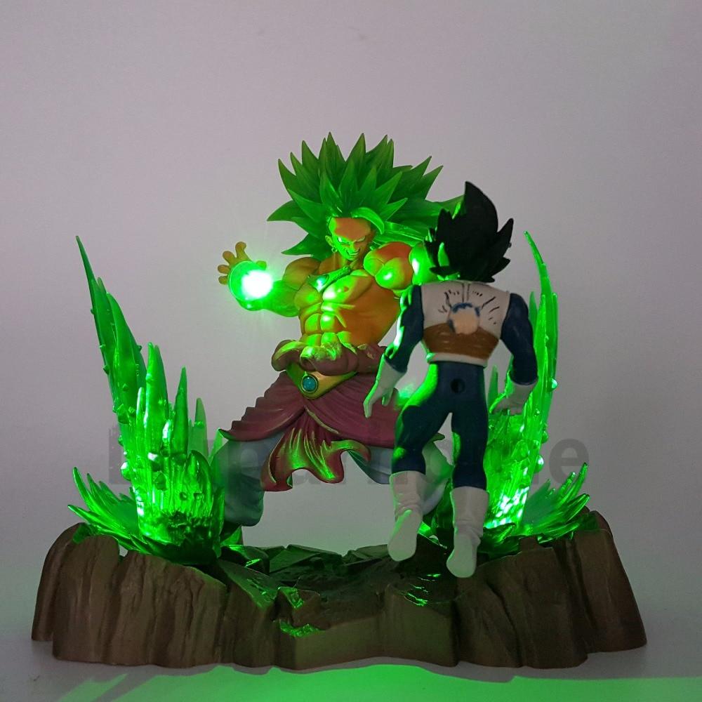 Dragon Ball Z Broly VS Vegeta Fighting DIY Luminaria LED Night Lights Anime Dragon Ball Led Table Lamp Broly Action Figure