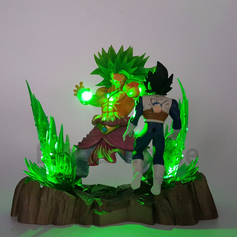Dragon Ball Z Broly VS Vegeta Fighting DIY Luminaria LED Night Lights Anime Dragon Ball Led Table Lamp Broly Action Figure
