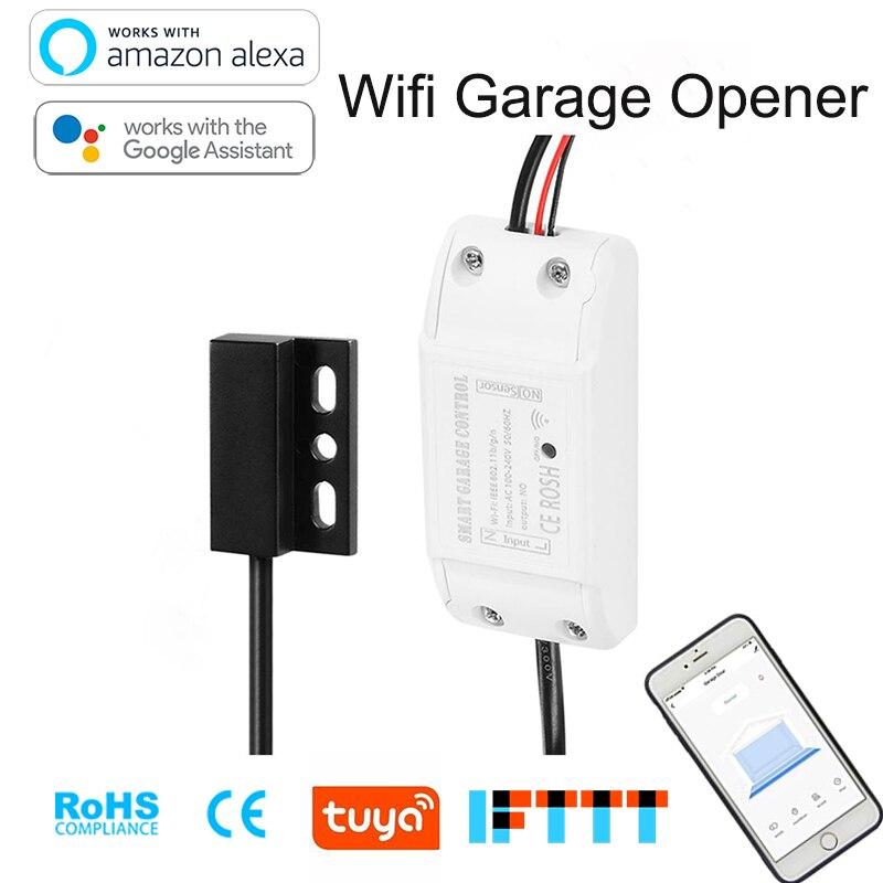 Wi-fi Abridor Da Porta Da Garagem Rolo Barato Detector De Sensor Inteligente Vida Alexa e Google app Controle Remoto Em Qualquer Lugar de Automação residencial