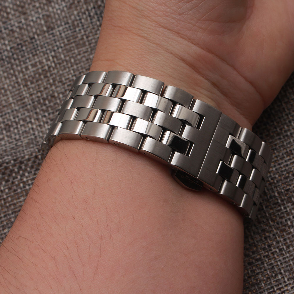 High Quality Watchband matte and polished Watch stainless teel strap bracelet 16mm 18mm 20mm 22mm 24mm silver metal watchbands dull polished mixed beaded bracelet